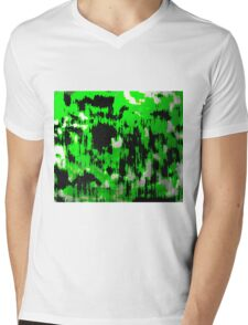 Neon Fractures Abstract Mens V-Neck T-Shirt