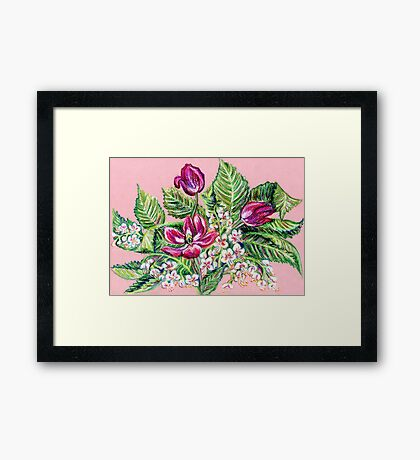 Tulips and aesculus Framed Print