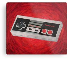 Red Impressionist Nintendo NES Controller Metal Print