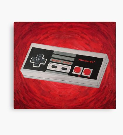Red Impressionist Nintendo NES Controller Canvas Print