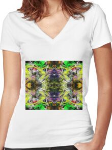 Symmetry Of Colour Abstract Women's Fitted V-Neck T-Shirt