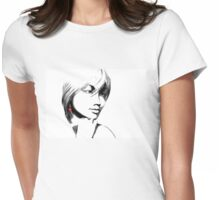 Woman with one red earring Womens Fitted T-Shirt
