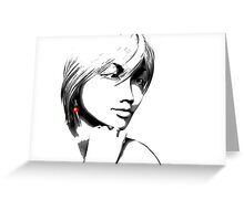 Woman with one red earring Greeting Card
