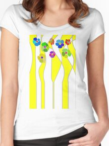 Flowers over yellow Women's Fitted Scoop T-Shirt