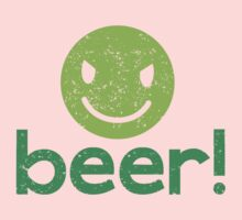 Beer! with cute evil smiley face Kids Tee
