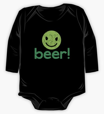 Beer! with cute evil smiley face One Piece - Long Sleeve