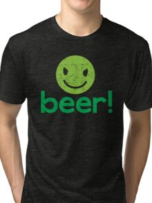 Beer! with cute evil smiley face Tri-blend T-Shirt