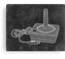 Distressed Atari Joystick - Black & White Canvas Print