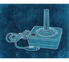 Distressed Atari Joystick - Cyan Photographic Print