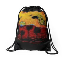 Bubble Flowers at Sunset Drawstring Bag