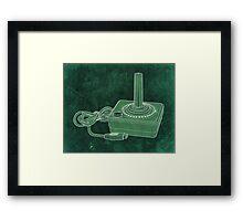 Distressed Atari Joystick - Green Framed Print