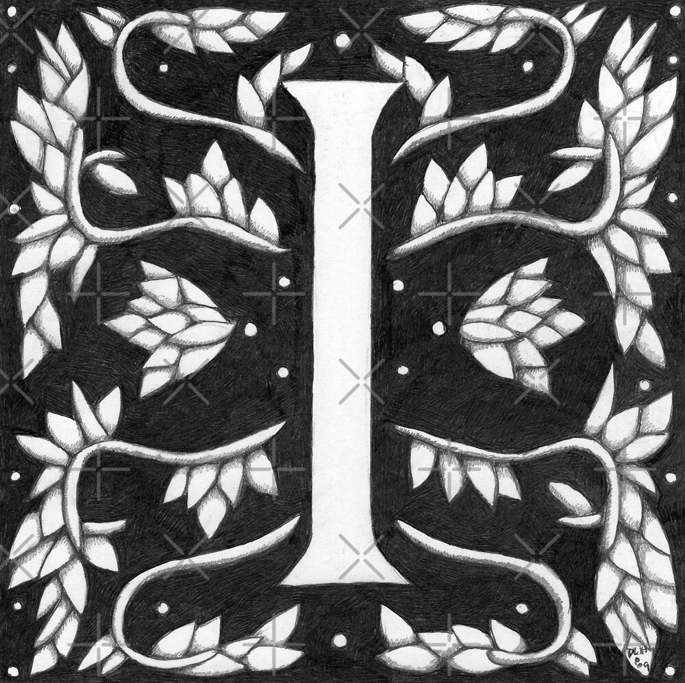 "Art Nouveau ""I"" (William Morris inspired) by Donna Huntriss"