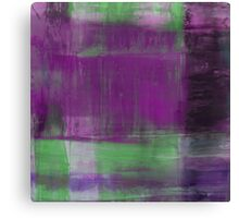 Purple, Green and black abstract painting Canvas Print