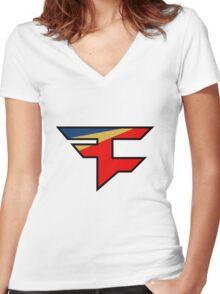 Official Faze Clan Logo Women's Fitted V-Neck T-Shirt