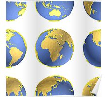 Earth globes vector pattern Poster