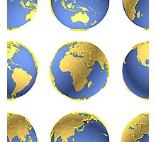 Earth globes vector pattern Photographic Print