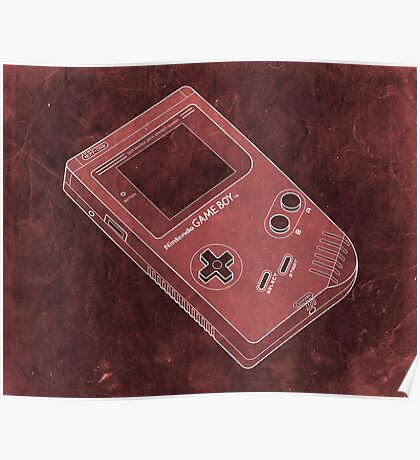 Distressed Nintendo Game Boy - Red Poster