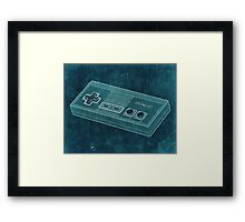 Distressed Nintendo NES Controller - Blue Green Framed Print