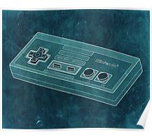 Distressed Nintendo NES Controller - Blue Green Poster