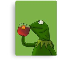 Kermit sipping tea (Redesign) Canvas Print