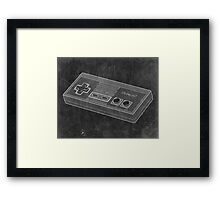 Distressed Nintendo NES Controller - Black & White Framed Print