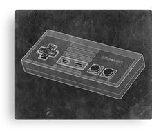 Distressed Nintendo NES Controller - Black & White Canvas Print