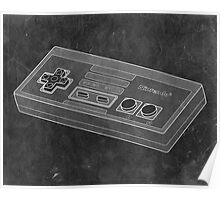 Distressed Nintendo NES Controller - Black & White Poster