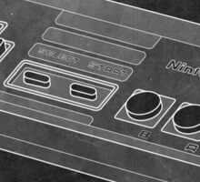 Distressed Nintendo NES Controller - Black & White Sticker