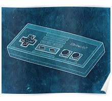 Distressed Nintendo NES Controller - Cyan Poster