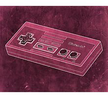 Distressed Nintendo NES Controller - Pink Photographic Print