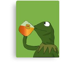 Kermit sipping tea Canvas Print