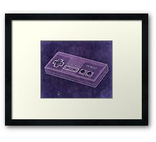 Distressed Nintendo NES Controller - Purple Framed Print