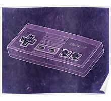 Distressed Nintendo NES Controller - Purple Poster