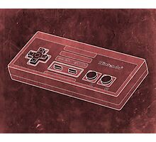 Distressed Nintendo NES Controller - Red Photographic Print