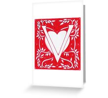 Red Heart Letter V Greeting Card