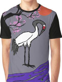 Crane Under Cherry Blossoms Graphic T-Shirt