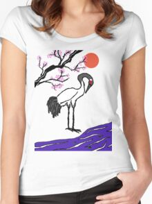 Crane Under Cherry Blossoms Women's Fitted Scoop T-Shirt