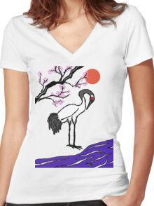 Crane Under Cherry Blossoms Women's Fitted V-Neck T-Shirt