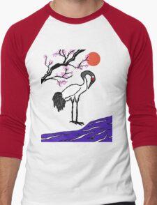 Crane Under Cherry Blossoms Men's Baseball ¾ T-Shirt