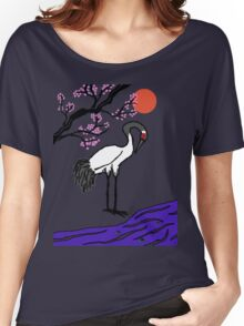 Crane Under Cherry Blossoms Women's Relaxed Fit T-Shirt