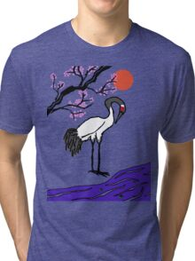 Crane Under Cherry Blossoms Tri-blend T-Shirt