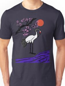 Crane Under Cherry Blossoms Unisex T-Shirt