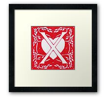 Red Heart Letter X Framed Print
