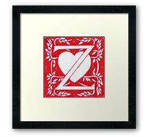 Red Heart Letter Z Framed Print