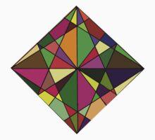 Warm Geometric Colours  One Piece - Short Sleeve