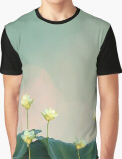 Serene Dreamy Lotus Pads Soft White Water Lilies Graphic T-Shirt