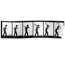 Eadweard Muybridge - Pick Axe Photographic Motion Study Poster