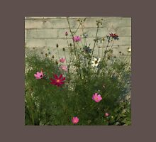 Pink cosmos flowers and brick wall T-Shirt
