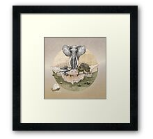 Elephant turtle condor tea time Framed Print