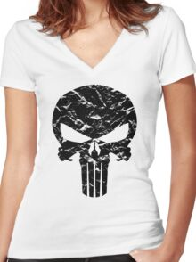 Punisher Logo (Black) Women's Fitted V-Neck T-Shirt